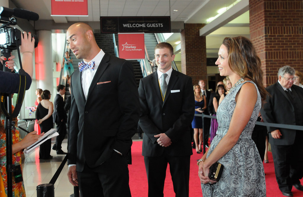 . Former Minnesota Viking Ben Leber arrived at the gala with his wife, Abby Leber, far right, who he credits as the one who put his outfit together. (Pioneer Press: Ginger Pinson)