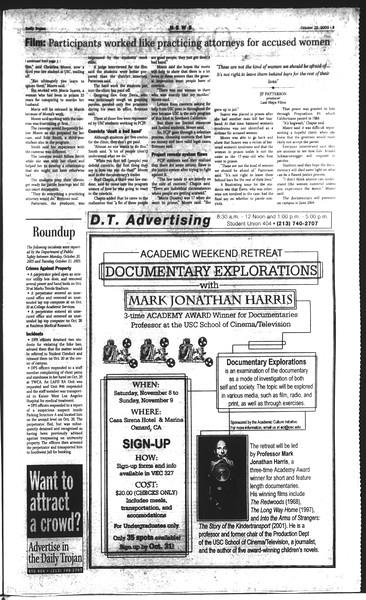 Daily Trojan, Vol. 150, No. 40, October 22, 2003