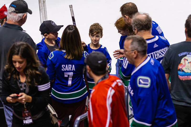 One lucky Canuck fan was able to catch a stick tossed over the glass by Antoine Roussel (#26) at the end of the pregame warmup skate at the BB&T Center on Thursday, January 9, 2020, where the Florida Panther hosted the Vancouver Canucks. The Panthers would go on to beat the Canucks 5-2.  [JOSEPH FORZANO/palmbeachpost.com]