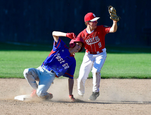 6/28/2019 Mike Orazzi | Staff Bristol American Legion's Evan Bouchard (9) tags out Berlin's Camden Murphy (2) at Muzzy Field in Bristol.