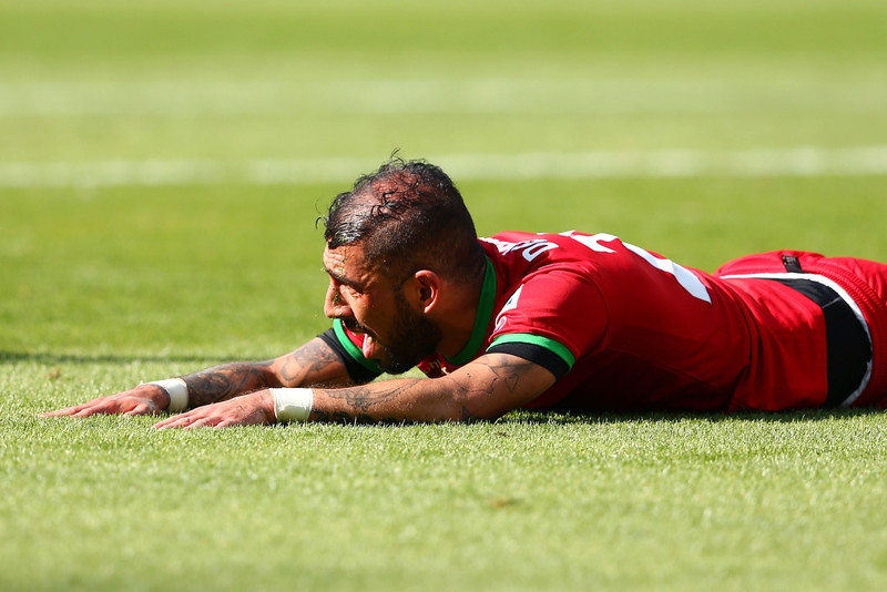 . Ashkan Dejagah of Iran reacts after a missed chance during the 2014 FIFA World Cup Brazil Group F match between Argentina and Iran at Estadio Mineirao on June 21, 2014 in Belo Horizonte, Brazil.  (Photo by Quinn Rooney/Getty Images)