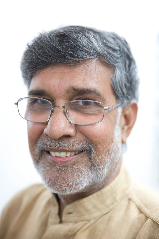 . Indian Children\'s rights activist Kailash Satyarthi poses for a portrait at his office in New Delhi, India, Friday, Oct. 10, 2014. Children\'s rights activists Malala Yousafzai of Pakistan and Satyarthi of India were awarded the Nobel Peace Prize Friday, Oct. 10, 2014. (AP Photo/Bernat Armangue)