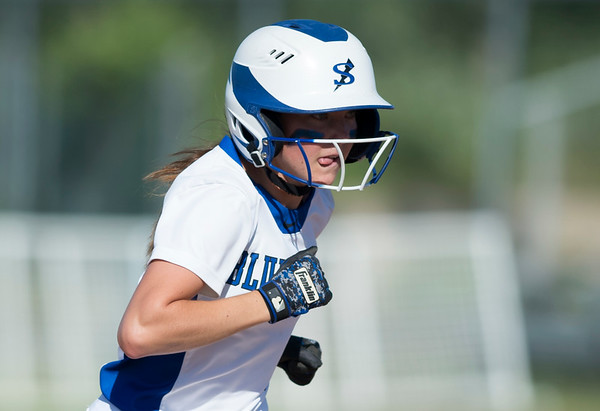 06/03/19 Wesley Bunnell | Staff Southington softball defeated Trumbull in a semifinal Class LL game at DeLuca Field in Stratford on Monday afternoon. Alexandra Rogers (8) rounds second base.