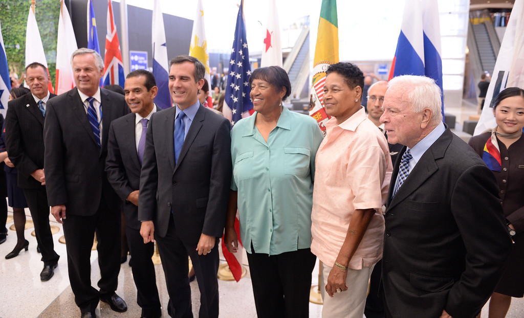 . At LAX, dignitaries gathered to open the new Tom Bradley International Terminal. L to R: Former Mayors James Hahn and Antonio Villaraigosa with Mayor Eric Garcetti. Lorraine and Phyllis Bradley and former Mayor Dick Riordan .(Wed. Sept 18, 2013 Photo by Brad Graverson/The Daily Breeze