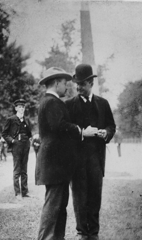. President Theodore Roosevelt, left, talks to John G. Milburn, prominent Buffalo, N.Y., lawyer, after the assassination of President William McKinley, Sept. 14, 1901. (AP Photo)