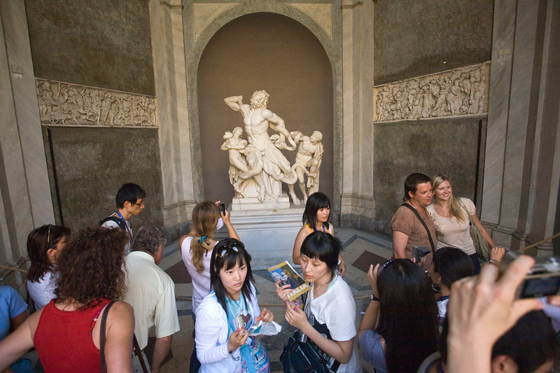 Crowd of visitors taking pictures of the Laocoon group, Vatican Museums