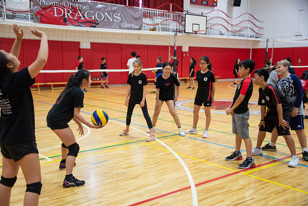 Grade 6 PE Volleyball Workshops with Grade 12
