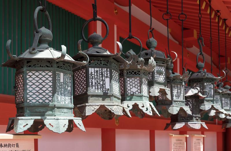 Bronze lanterns at Kasuga Taisha Shrine in Nara, Japan