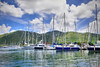 Beautiful marina lined with luxury sailboats and large lush mountains in the background.