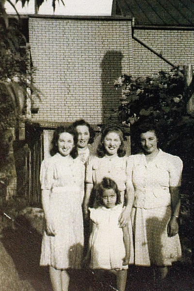 Left to right:  Connie Liberoni - Chi Chi's Mother.......died at a very early age......I never met her. Aunt Helen Liberoni Unknown Lady Grandma Rose Liberoni In front is Mary Kathrine Liberoni......Sister of Judy, who was in our wedding Party.  She was Mom's cousin, a nurse, who also died quite young, but after we were married.