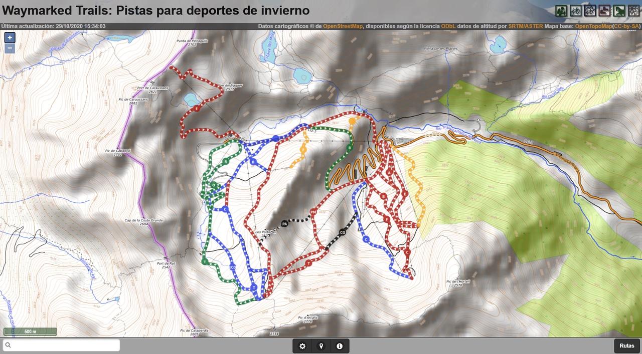 Mapa de pistas de esquí y remontes de Waymarkedtrails Slopes