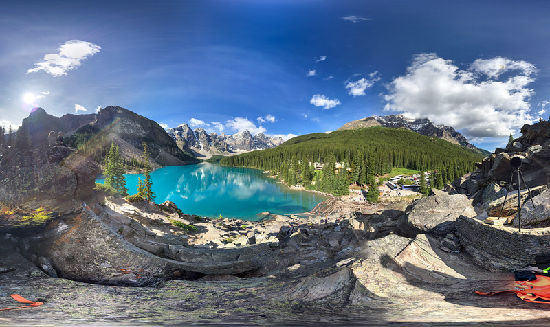 "A 360 ""photo-sphere"" I took while at Moraine Lake."