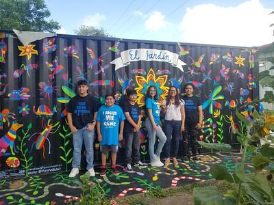 080421 Islander Alumna Mayra Zamora, Teen Campers Design New Mural at Garcia Center