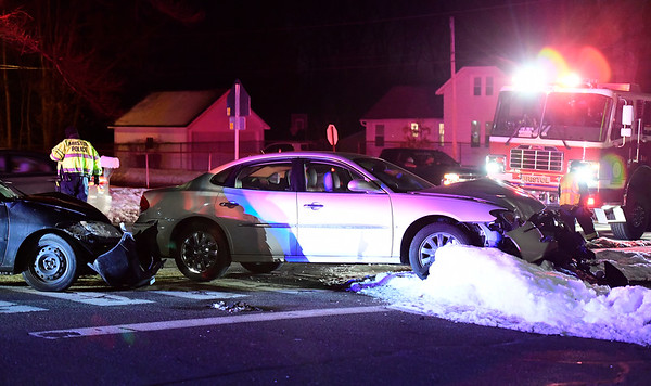 2/22/2019 Mike Orazzi | Staff The scene of a two-car crash at the intersection of Stevens Street and Fleetwood Road in Bristol Friday evening. One person was transported to Bristol Hospital with non life threatening injuries another refused treatment. No further information was available.