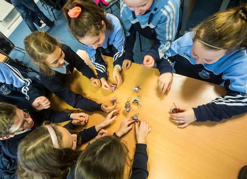 "06/03/2017. FREE TO USE IMAGE. Engineers Week at WIT (Waterford Institute of Technology). Pictured during ""BrushBots Workshop"" are  pupils from Scoil Mholainge, Listerlin, Co. Kilkenny. Picture: Patrick Browne"