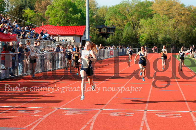 Butler's Liz Simms finishing first in the 400 meter. Simms won numerous. Seb Foltz/Butler Eagle