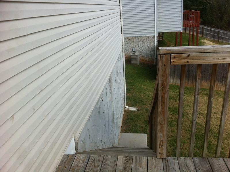 Stairs down to backyard