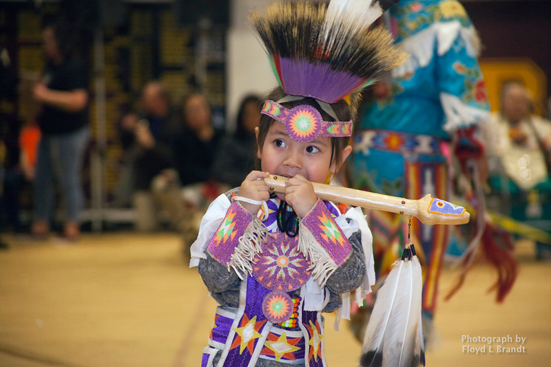 Havre Daily News/Floyd Brandt      Zak Hoops at Sweetgrass pow wow Montana State University Northern Friday
