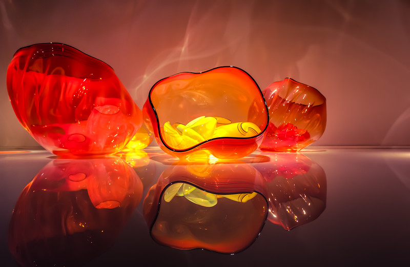 Red Glass Chihuly Bowls