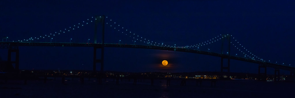 Full Moon under the Newport Pell Bridge