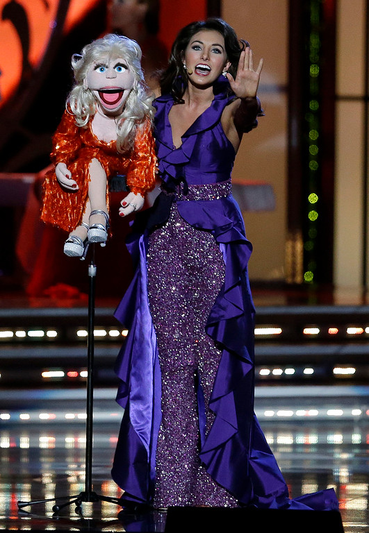 . Miss Ohio Mackenzie Bart performs during the talent portion of the Miss America 2015 pageant, Sunday, Sept. 14, 2014, in Atlantic City, N.J. (AP Photo/Mel Evans)