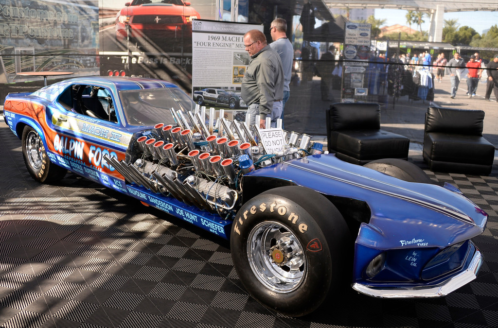 . Nov 5,2013 Las Vegas NV. USA. The 1969 MACH IV Four Engine Mustang on display during the first day of the 2013 SEMA auto show. (Photo by Gene Blevins/LA Daily News)