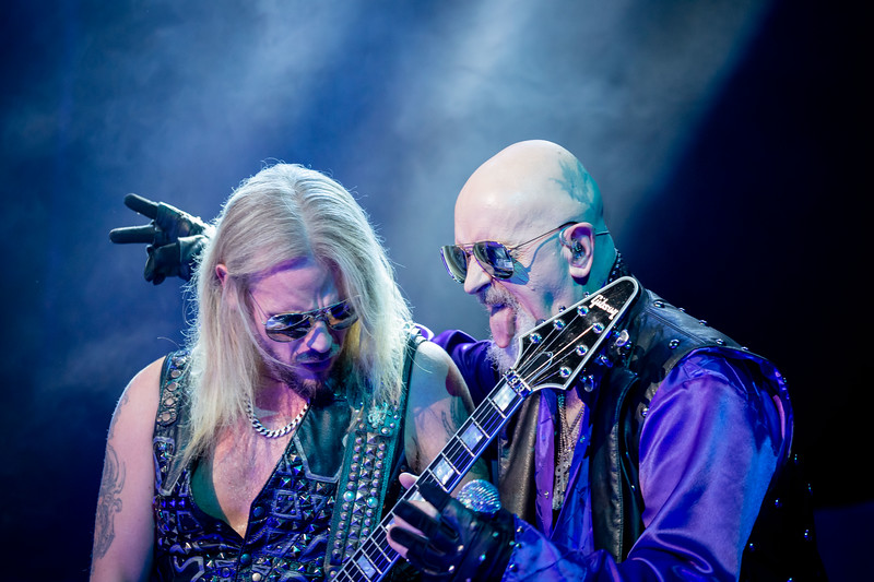 Judas Priest members come together to enertain the energetic crowd.