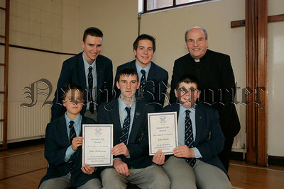 St Colmans College Junior prizegiving. John McAleavey and John Devlin recieve the Spiritual award from Dr Francis Brown. Also in picture are school Prefects, Edward O'Hare, Michael Mulvanny and Gary Buchanan.