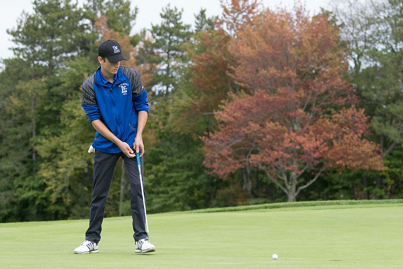 Ayer Shirley Regional High School played Fitchburg High School while Leominster High School, St. Bernard's and Northbridge High School played each other at Oak Hill Country Club on Tuesday, Oct. 8, 2019 in Fitchburg. LHS's senior Richie DeCarolois makes a putt. SENTINEL & ENTERPRISE/JOHN LOVE
