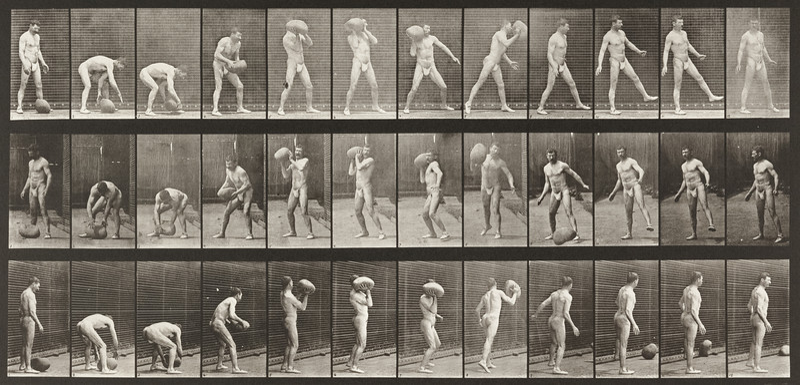 Man in pelvis cloth throwing rock (Animal Locomotion, 1887, plate 317)