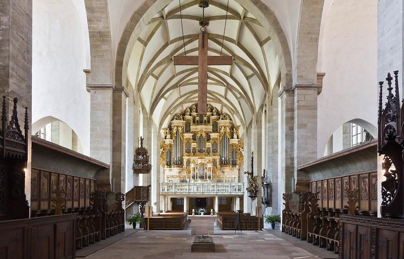Merseburg, Dom, Blick aus Chor Richtung Westen auf Barockorgel