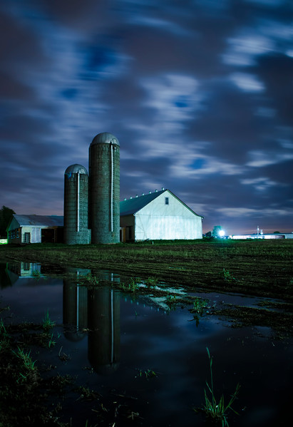 night reflection - cloudy countryside barn in puddle(p).jpg