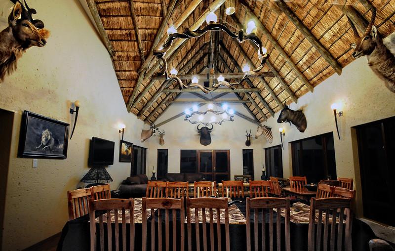 Kolobe Safari dinning area.  South Africa.