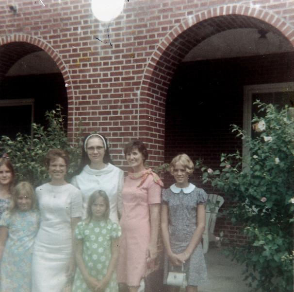 Pat, Julie, Maria, Sr. Clara Louise, Susie, Frieda and Jeanne Sacred Heart Dominican Convent Almeda Rd in Houston Circa 1967