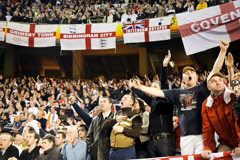 Engish fans. Taken during the friendly football game between the national teams of Spain and England that took place in the Sanchez Pizjuan stadium, Seville, Spain, 11 Feb 2009.