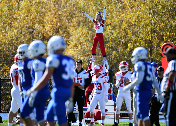10/19/2019 Mike Orazzi | StaffrBerlin High School cheerleaders during Saturday's football game with Lewis Mills in Burlington.