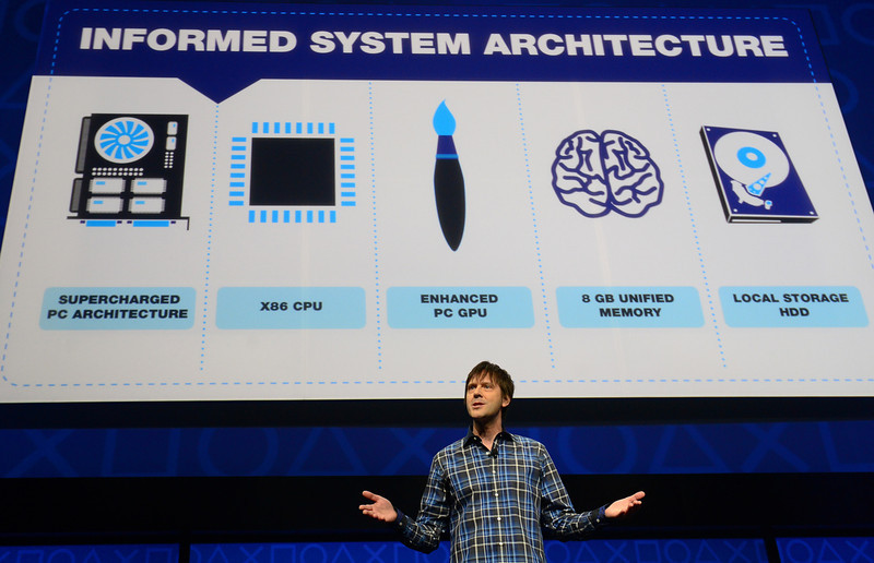 . Video game designer Mark Cerny talks as Sony introduces the PlayStation 4 at a news conference February 20, 2013 in New York.  EMMANUEL DUNAND/AFP/Getty Images