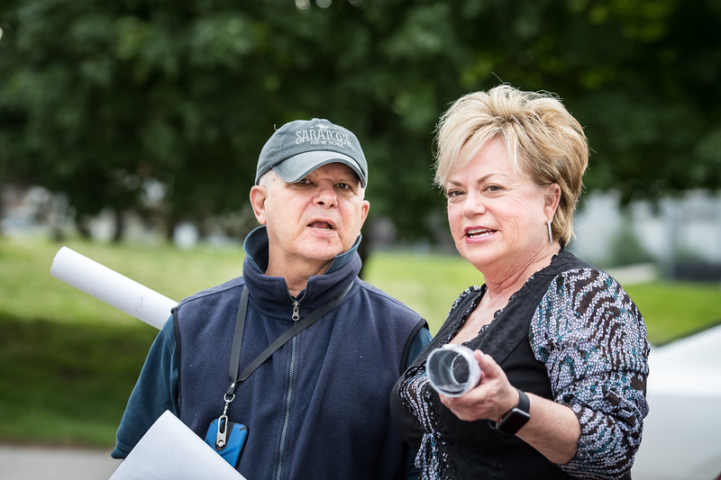 Vickie with jockey agent Richard DePass.
