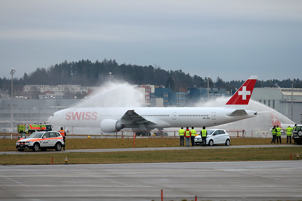 Arrival of Swiss first Boeing 777 in Zurich