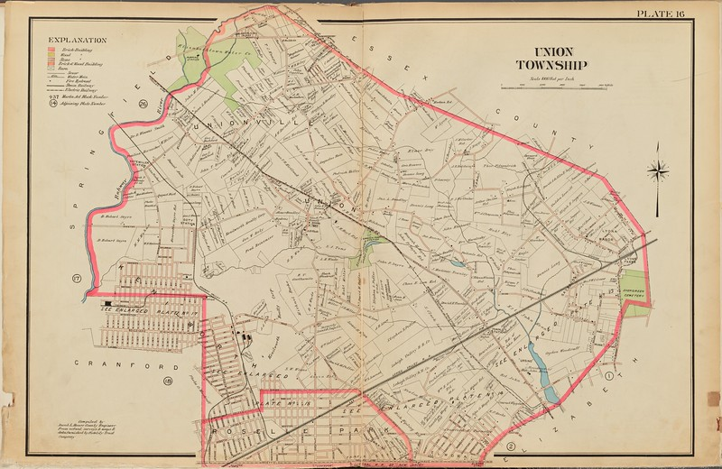 1906 Map that indicates the property owners and some building locations. This map features the route of the Morris Traction Trolley.