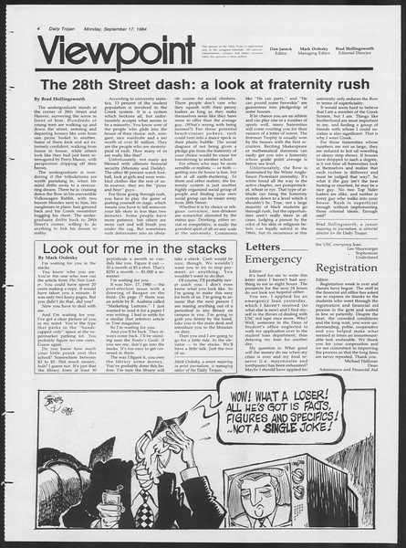 Daily Trojan, Vol. 97, No. 10, September 17, 1984