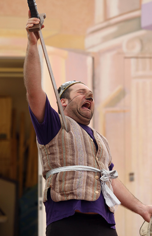 ". Steven Westdahl performs in San Francisco Shakespeare\'s ""A Midsummer Night\'s Dream\"" on the Aesop\'s Playhouse stage at Children\'s Fairyland in Oakland, Calif., on Friday, March 15, 2013.  (Jane Tyska/Staff)"