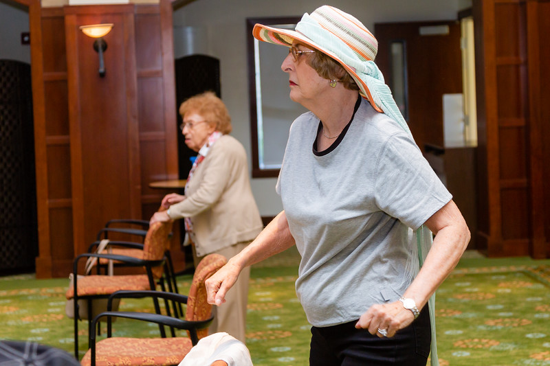 Reva Quint, 81, participates in a Zuma exercise class at Tradition of MorseLife in West Palm Beach on Wednesday, October 31, 2018. Quint has lived at Tradition for four  years. [JOSEPH FORZANO/palmbeachpost.com]