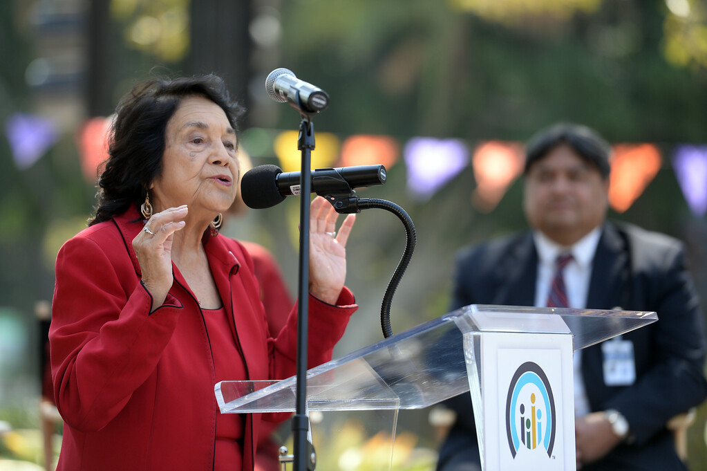 . Activist Dolores Huerta speaks during a  Covered California rally on Olvera Street  to help kick off the final two weeks of health care enrollment through Covered California Thursday, March 13, 2014.  (Photo by Hans Gutknecht/Los Angeles Daily News)