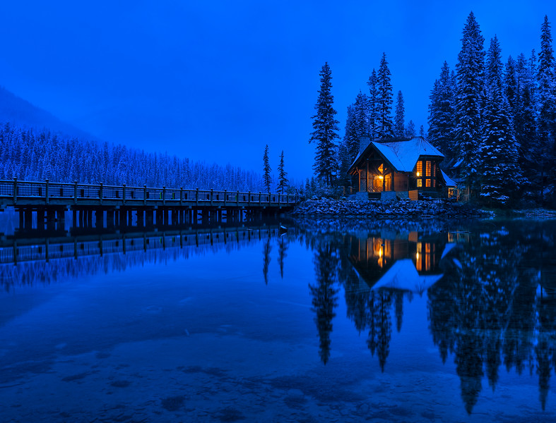 Blue Hour at Emerald Lake Lodge