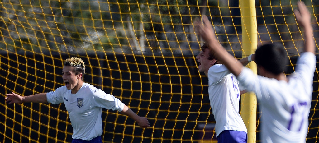 . Diamond Bar\'s Guy Horcasitas reacts after scoring against Baldwin Park in the first half of a CIF-SS quarterfinal prep playoff soccer match at Diamond Bar High School in Diamond Bar, Calif., on Thursday, Feb.27, 2014. Baldwin Park won 2-1. (Keith Birmingham Pasadena Star-News)