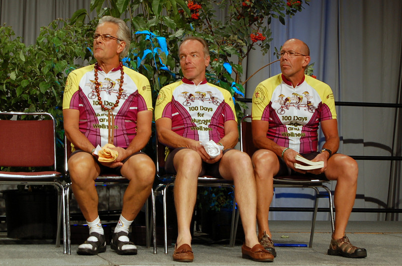 Tour de Revs riders Pastors David Twedt, Fred Soltow, and Ron Schlack. Each had a story to share about their journey.