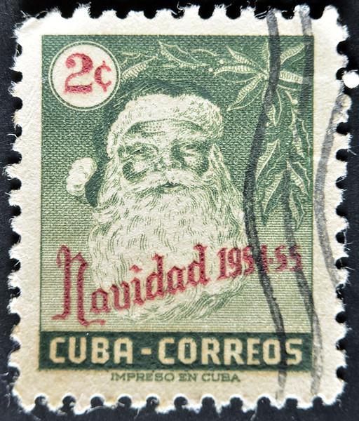 Cuba - Circa 1954: A Stamp Printed In Cuba Shows Santa Claus, Circa 1954