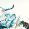 """Untitled Blue Pair II, 30""""x30"""" encasutic on wood"""