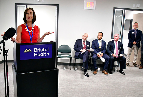 8/9/2019 Mike Orazzi | Staff Mary Lynn Gagnon, Executive Director of the Bristol Hospital Development Foundation, during the ribbon cutting for behavioral health unit at Bristol Hospital on Friday morning.